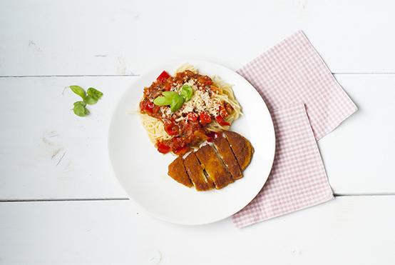 €4 meal: Spaghetti met kipschnitzel